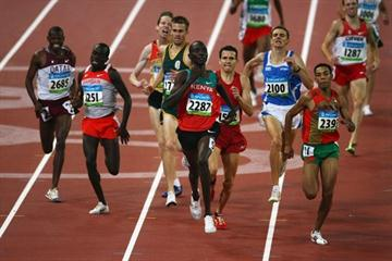 Asbel Kiprop and Abdalaati Iguider lead the qualifiers from the first 1500m semi final (Getty Images)