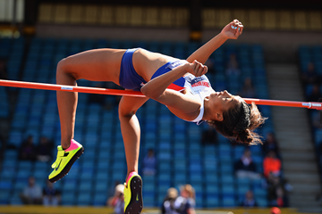 Morgan Lake in action in the high jump at the British Championships (Getty Images)