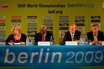 IAAF President Lamine Diack attends the 12th IAAF World Championships in Berlin - Debrief next to Heinrich Clausen and Stefan Thies prior to the women's Marathon in Berlin (Getty Images)
