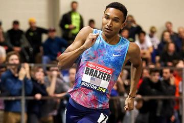 Donavan Brazier on his way to winning the 800m at the IAAF World Indoor Tour meeting in Boston (PhotoRun)