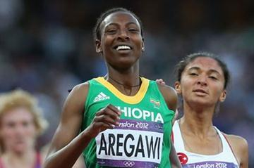 Abeba Aregawi of Ethiopia crosses the line in the Women's 1500m Semifinals on Day 12 of the London 2012 Olympic Games at Olympic Stadium on August 8, 2012 (Getty Images)
