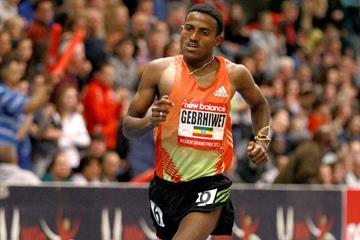 Ethiopia's Hagos Gebrhiwet at the 2013 New Balance Indoor Grand Prix in Boston (Victah Sailer)