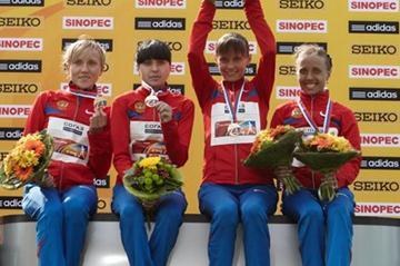 The women's Russian team victorious in Saransk: Irina Yumanova, Anisya Kirdyapkina, Elena Lashmanova and Olga Kaniskina (Getty Images)