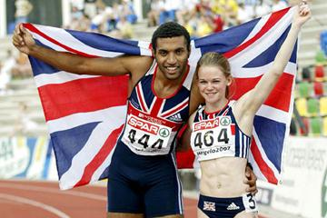 Hayley Jones and Alex Nelson - European Junior 200m champions (Mark Shearman)