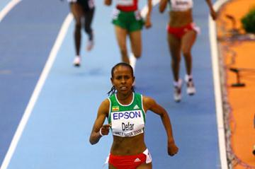 Meseret Defar strides away to a clear victory (Getty Images)