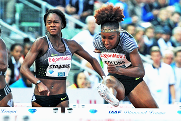 Brianna Rollins on her way to winning the 100m hurdles at the IAAF Diamond League meeting in Oslo (Mark Shearman)