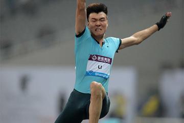 China's Li Jinzhe surprises with an 8.34m Long Jump victory at the Shanghai Diamond League (Jiro Mochizuki)