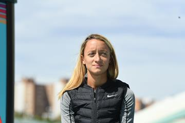 Florencia Borelli at the IAAF/LOC Press Conference in Valencia (Jiro Mochizuki)