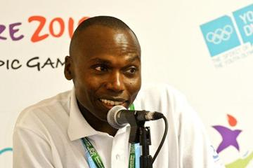 Wilson Kipketer speaking at a press conference on eve of the opening of the Youth Olympic Games (SPH-SYOGOC /Natashia Lee Xin Rui)