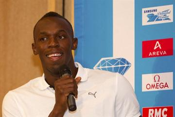 Usain Bolt in good form at the Meeting Areva - Samsung Diamond League press conference in paris, 6 July 2011 (Errol Anderson)