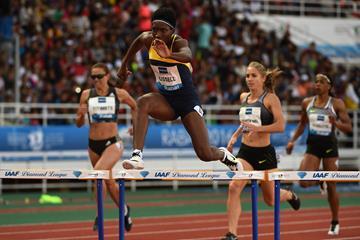 Janieve Russell in the 400m hurdles at the IAAF Diamond League meeting in Rabat (Kirby Lee)
