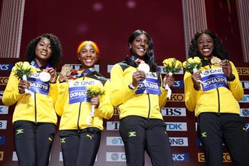 Gold medal-winning Jamaican 4x100m squad at the IAAF World Championships Doha 2019 (Getty Images)