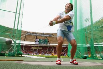 Primoz Kozmus of Slovenia wins the men's hammer with 79.99m (Getty Images)