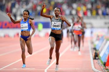 Hellen Obiri wins the 3000m at the IAAF Diamond League meeting in Doha (Jiro Mochizuki)