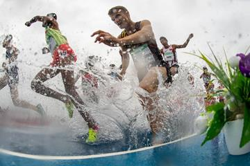 Louis Vandermessen in the Youth Olympic Games steeplechase in Buenos Aires (Joel Marklund for OIS/IOC)
