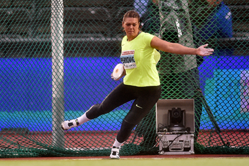 Sandra Perkovic, winner of the discus at the IAAF Diamond League meeting in Stockholm (Hasse Sjogren)