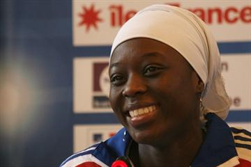 All smiles - Myriam Soumare at the LOC press conference in Paris (Bob Ramsak)