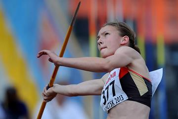 Germany's Celina Leffler in the heptathlon javelin at the 2013 World Youth Championships (Getty Images)