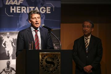 Seb Coe and Hiroshi Yokokawa at IAAF/LOC Dinner - World Athletics Heritage Plaque announcement, IAAF World Relays Yokohama 2019 (Roger Sedres for the IAAF)