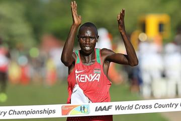 Geoffrey Kamworor winning his second straight world cross country title in Kampala (Roger Sedres)