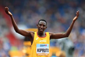 Conseslus Kipruto after his dominant victory in the Continental Cup steeplechase (Getty Images)
