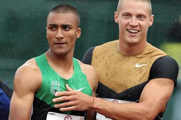 Ashton Eaton and Trey Hardee at the end of the first day of the decathlon (Getty Images)