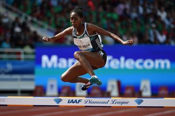Etenesh Diro in the 3000m steeplechase at the IAAF Diamond League meeting in Rabat (Kirby Lee)