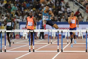 Abderrahman Samba in action at the IAAF Diamond League meeting in Doha (AFP / Getty Images)