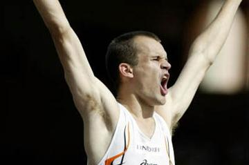 Stefan Holm of Sweden celebrates winning the High Jump at the World Athletics Final (Getty Images)