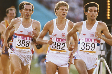 Sebastian Coe, Steve Cram and Steve Ovett in the 1500m at the 1984 Olympic Games in Los Angeles (Getty Images)