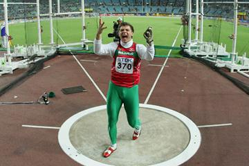 Vadim Devyatovskiy of Belarus celebrates after a throw during the Men's Hammer Throw Final (Getty Images)