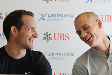 Renaud Lavillenie and Sam Kendricks at the press conference for the IAAF Diamond League meeting in Zurich (Jean-Pierre Durand)