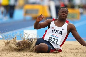Marquise Goodwin of USA on his way to winning the gold medal in the Men's Long Jump (Getty Images)