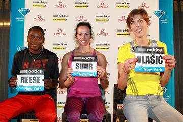 Brittney Reese, Jenn Suhr and Blanka Vlasic at the New York Diamond League press conference (Victah Sailer)