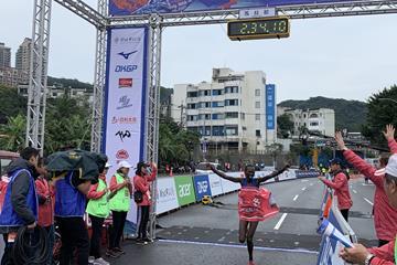 Naomi Jepkogei Maiyo takes the New Taipei City marathon title (Wan-Ting Mao (organisers))