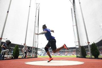 Fedrick Dacres spins to victory in the Continental Cup discus throw (Getty Images)