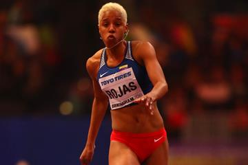 Yulimar Rojas in the triple jump at the IAAF World Indoor Championships Birmingham 2018 (Getty Images)