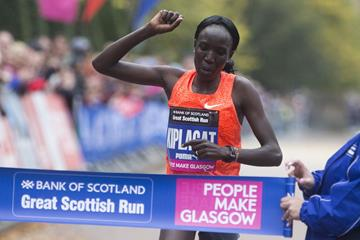 Edna Kiplagat wins at the 2015 Great Scottish Run (Organisers)