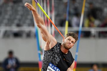 Javelin winner Andreas Hoffman at the IAAF Diamond League meeting in Shanghai (Errol Anderson)