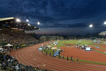 Hayward Field, the venue of the 2015 IAAF Diamond League meeting in Eugene (Kirby Lee)