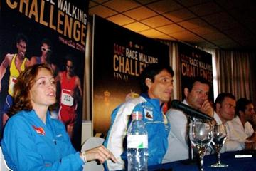 Pre-race press conference in Murcia, left to right: Kjersti Platzer, Jefferson Perez, Antonio Penalver (Murcia Regional Sports General Director), Miguel Cascales (City Sports Councillor, Murcia) and Francisco Fernandez (Veronique Lauer)