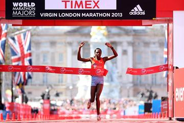 Priscah Jeptoo crosses the line victorious in the women's race at the 2013 London Marathon (Getty Images)