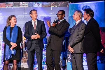 Gabriella Dorio, Steve Cram, Abdi Bile, Eamonn Coghlan and Seb Coe - Heritage Mile Night (© Philippe Fitte for World Athletics)
