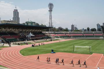 Athletes warm up at Nyayo Stadium (AFP / Getty Images)