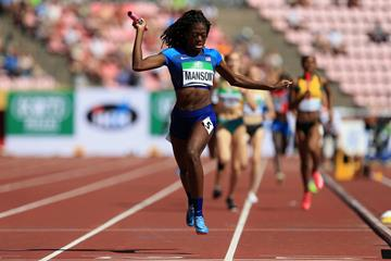 Taylor Manson anchors the USA to gold in the 4x400m at the IAAF World U20 Championships Tampere 2018 (Getty Images)