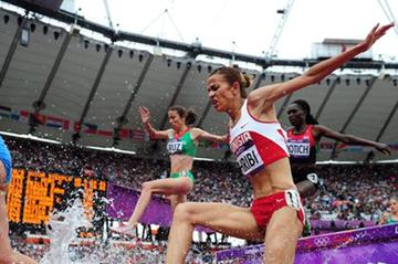 Habiba Ghribi of Tunisia competes in the Women's 3000m Steeplechase Round 1 Heats on Day 8 of the London 2012 Olympic Games at Olympic Stadium on August 4, 2012 (Getty Images)