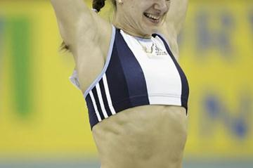 Yelena Isinbayeva celebrates setting a new World Indoor record in Birmingham (Getty Images)