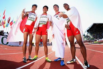 The Japanese 4x400m team at the IAAF World Junior Championships, Oregon 2014 (Getty Images)