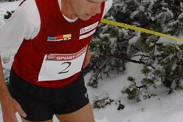 Dashing through the snow: Jonathan Wyatt winning the Schneeberglauf (organisers)