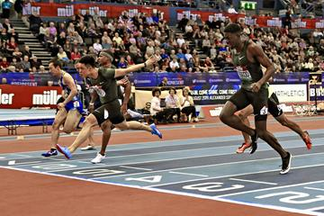 Su Bingtian wins the 60m at the IAAF World Indoor Tour meeting in Birmingham (Mark Shearman)